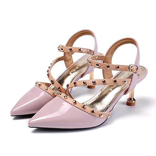 7Cm High Single Fashion Buckles Empty Sandals Heels Side Violet Baotou Summer Sharp Rivets KPHY Thin Pointed Shoes vdpqxzvw6