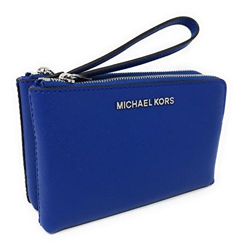 Michael Kors Jet Set Travel Large Double Gusset Wristlet Bag Purse (Electric Blue) by Michael Kors