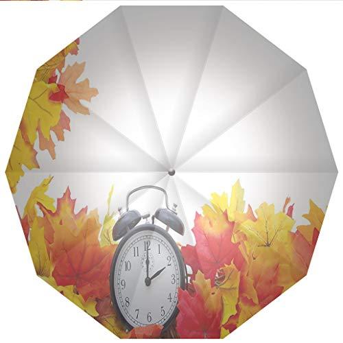 Sun umbrella, umbrella UV Protection Auto Open Close Clock Decor,Autumn Leaves and an Alarm Clock Fall Season Theme Romantic Digital Windproof - Waterproof - Men - Women -Lightweight- 45 inches