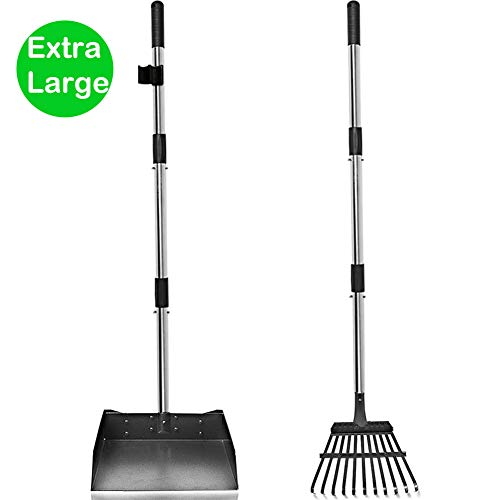 Snagle Paw Upgraded Pooper Scooper for Large Dogs,2 Pack 44 Inches Pet Pooper Tray and Rake with Adjustable Long Handle Metal for Pet Waste Removal