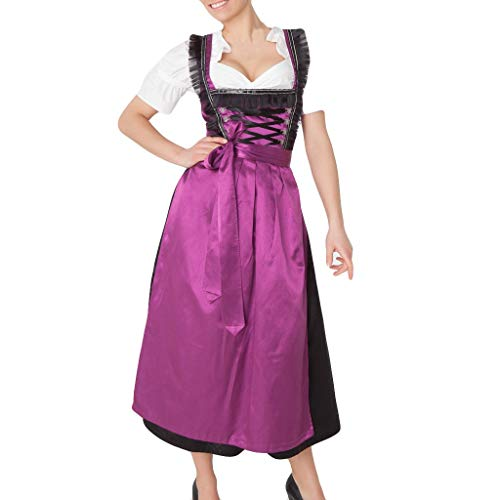 2 Pieces Women's Dirndl Dress + Apron Carnival Bavarian Oktoberfest Beer Festival Short Sleeve Cosplay Costume Purple -