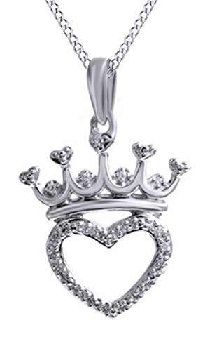 Jewel Zone US Natural Diamond Accent Crown Heart Pendant Necklace in 14k White Gold Over Sterling Silver ()