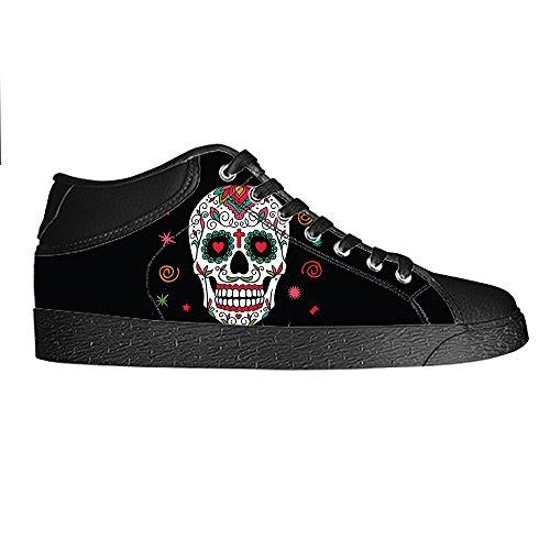 Custom skull Mens Canvas shoes Schuhe Lace-up High-top Sneakers Segeltuchschuhe Leinwand-Schuh-Turnschuhe E