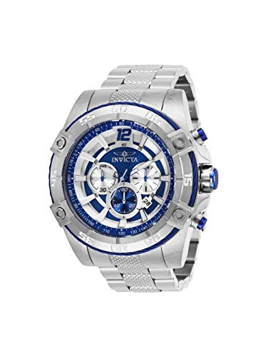 (Invicta 29290 Bolt Chronograph Quartz Movement Blue Dial Men's Watch Silver Tone Bracelet Analog Dial with Stainless Steel Case)
