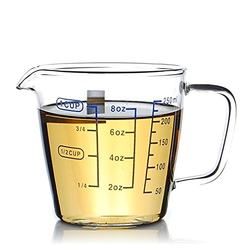 1 Cup Borosilicate Glass Measuring Cup With 50ML Intervals Scale New Kitchen Accessories Easy Measure Liquid Powder Milk Cups