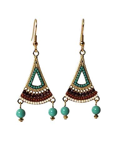 (Turquoise Chandelier Earrings with Swarovski Pearls, Multicolored Flared Triangle Dangle Earrings in Brown, Purple and White, Choose Gold Hypoallergenic or Nickel Free)