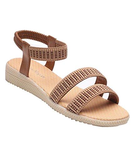 Yiiquan Mujeres Plana de Sandalias Peep Toe Bohemia Ocio Zapatos Venda Elástica Marrón