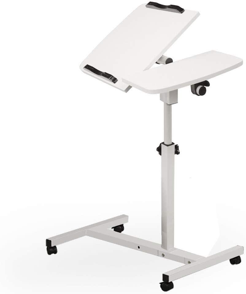 "EraseSIZE Mobile Standing Desk, Height Adjustable Laptop Desk Cart with Side Table, Multi-Function Home Office Computer Desk with Wheels-US Stock (24"" X 16"" X 27.5"" to 40"")"