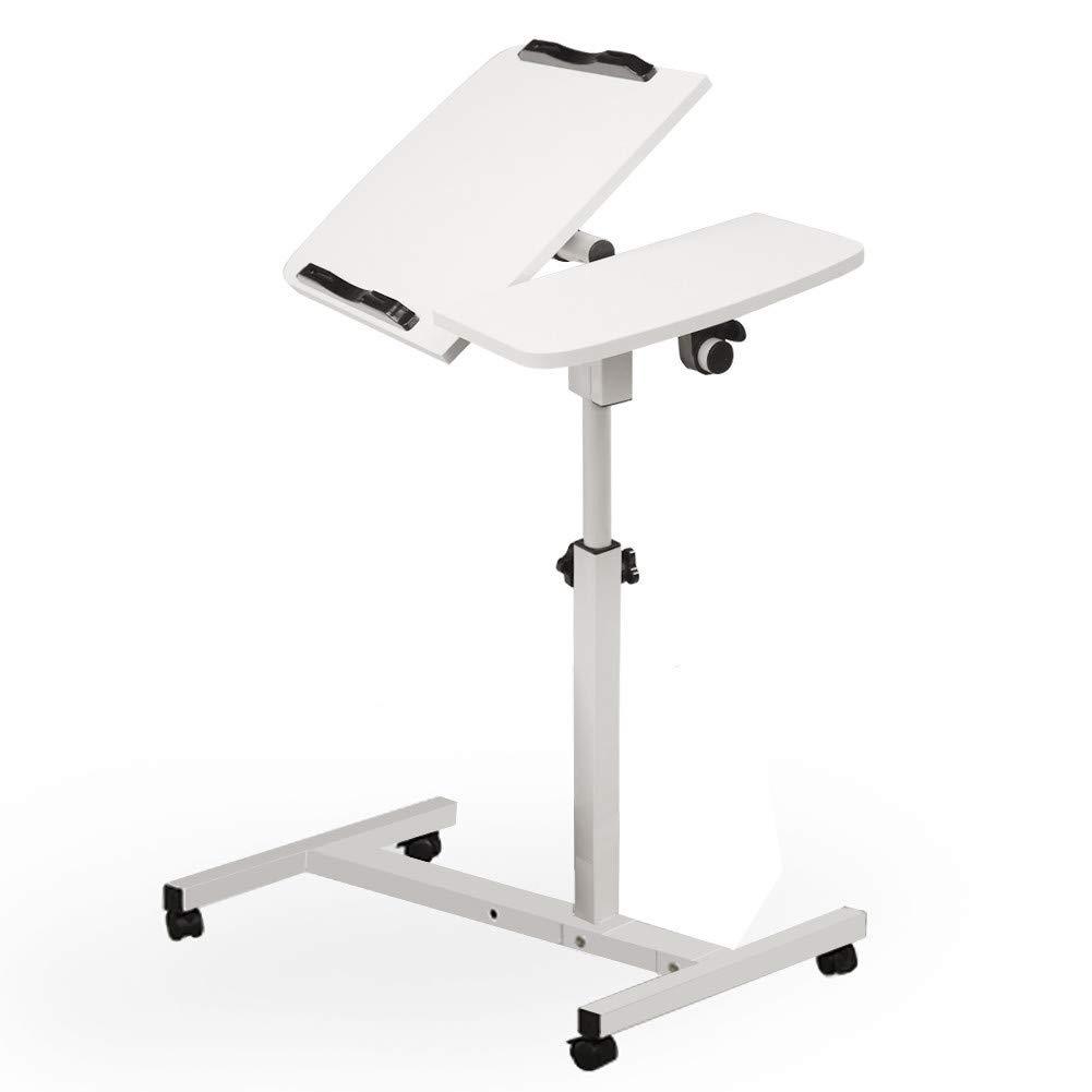 US Fast Shipment Quaanti Rolling Adjustable Laptop Cart,Adjustable Turnlift Sit-Stand Mobile Laptop Desk Cart with Side Table,Bedside Table Rolling Laptop Stand Overbed Desk with Wheels (WT)