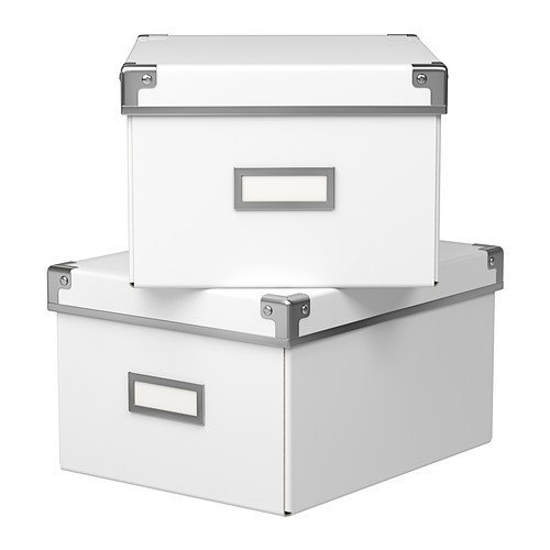 Ikea Kassett Storage DVD Boxes With Lid, 2 Pack, White, 8 1/4 x 10 1/4 x 6''