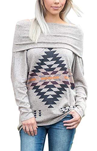 PRETTYGARDEN Womens Fashion Rhombic Geometric Printed Sexy Off Shoulder Long Sleeves Pullover Sweatshirts Tops