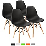 Furmax Pre Assembled Modern Style Dining Chair Mid Century Modern DSW Chair, Shell Lounge Plastic Chair for Kitchen, Dining, Bedroom, Living Room Side Chairs Set of 4(Black)