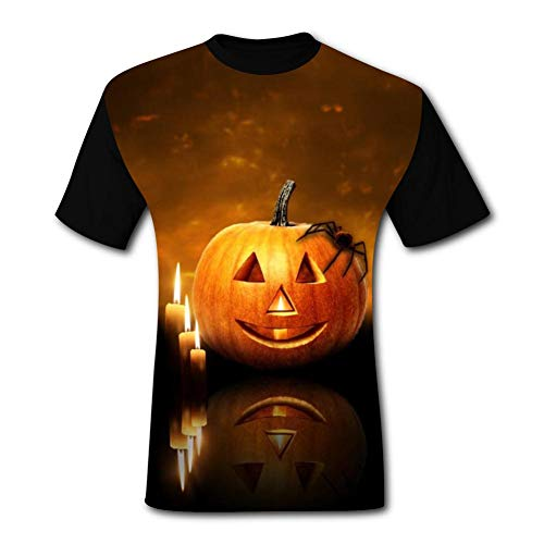 SMXNJSUE44 Men's 3D Halloween Pumpkin lamp Costume Print Short Sleeve T-Shirt Fashion Tees M
