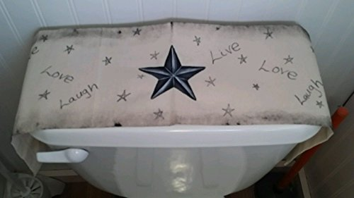 Primitive Country Decor Texas Five Point Star Live Love Laugh Ticking Toilet Tank Runner