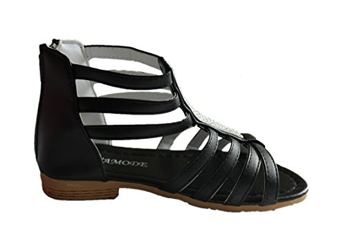 eva moda-sandales spartiates-noire-fille