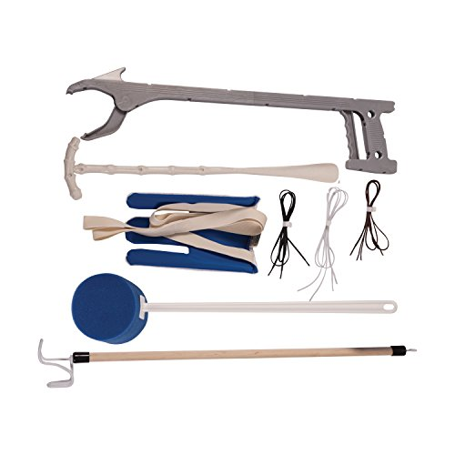 DMI Dressing Kit, Deluxe Dressing Aid, Knee and Hip Replacement Kit, With Sock Aid, No Tie Shoelaces, Dressing Stick, Long Handled Sponge, Reacher Grabber, and Shoe Horn, Blue and White by Duro-Med (Image #2)