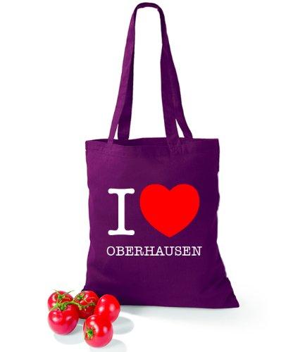 Artdiktat Baumwolltasche I love Oberhausen Burgundy
