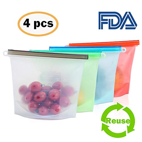 Reusable Food Storage Bags, 4 Reusable Silicone Food Storage Bags, Solid Liquid Preservation, Use in Freezer, Dishwasher,Microwave, Eco, Easy Clean & Economic, Perfect for Taking Out (50 OZ/1500ML)