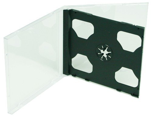 mediaxpo Brand 10 Standard Black Double CD Jewel Case - Clear Jewel Tray Case