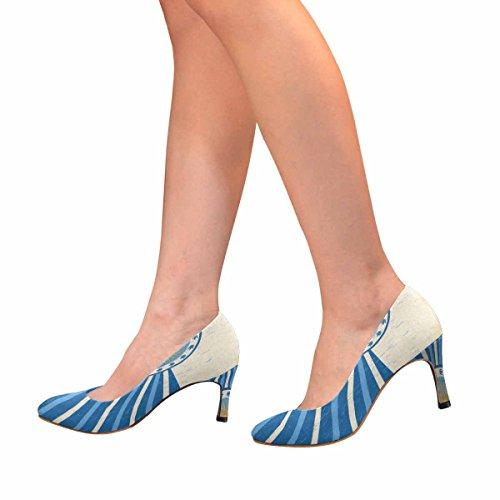 Abstractprint Womens Classic Fashion High Heel Dress Pump Abstract Argentina Vintage Poster Di Carta, Colori Bandiera Argentina