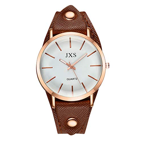 Round Shining Dial (Aanny Watch Women's Creative Simple Up Nail Engraved Number Nail Brown Round Dial Quartz Watch Stainless Steel Leather Strap)