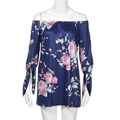 Fille Shirts Encolure Shirt Bandage Confortable Nues Fleurs Femme Modle T Top Impression Mode Manches T Blau 3 Elgante 4 Et Outdoor Bateau Classique Shirt paules Bouffant xqSR7ZS