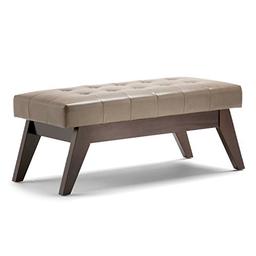 Simpli Home 3AXCOT-249-ASB Draper 40 inch Wide Mid Century Modern  Ottoman Bench in Ash Blonde Faux Leather
