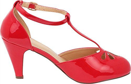 Patent Pump Red Select Strap Cutout Jane T Dress Women's Cambridge Teardrop Mary faFvPFq