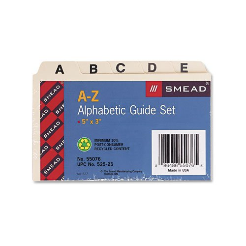 Smead Products - Smead - Self-Tab Card Guides, Alpha, 1/5 Tab, Manila, 25/Set - Sold As 1 Set - Ideal for desktop reference files, account lists, patient or customer lists. - Tabs in assorted positions. - Durable 18 pt. Manila. (Card Manila Guides Tab Az)