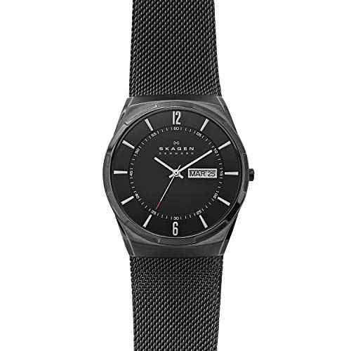 Mesh Watch Band Titanium - Skagen Men's Melbye Quartz Titanium and Stainless Steel Mesh Casual Watch, Color: Black (Model: SKW6006)