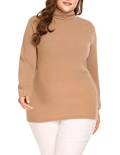 IN'VOLAND Women's Plus Size Turtleneck Sweater Pullover Stretch Knit Tunic Long Sleeve Slim Sweater Jumper ()