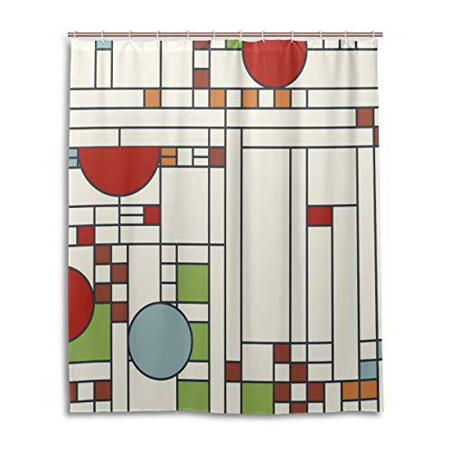 bluepop Frank Lloyd Wright Pattern S02 Shower Curtain 60x72 Inch with 12 Hooks