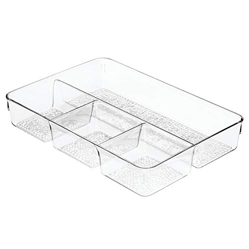 """InterDesign Rain Divided Cosmetic Drawer Organizer Tray for Vanity Cabinet to Hold Makeup, Beauty Products, Accessories, 13"""" x 9"""" x 2.25"""", Clear"""