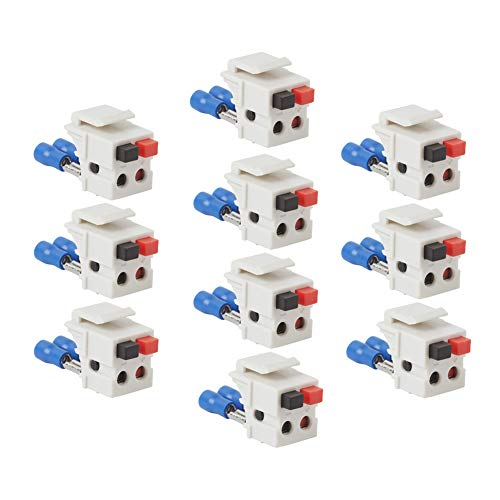 TENINYU Dual Speaker Module Keystone White,Installation Equipment/Wall Jacks/Inserts (10 Pack)