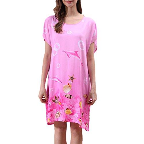 Zhhlinyuan Elegant Womens Round Neck Pajamas Summer Princess Sleep Skirt One Size Pink