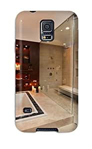 [XBDJAPr9645HFvbC]premium Phone Case For Galaxy S5/ Contemporary Glass Enclosed Shower And Bathtub With Loose Rock Border Tpu Case Cover