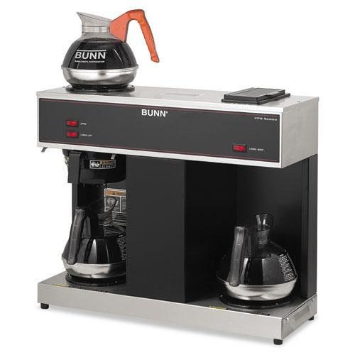 BUNN-O-MATIC Pour-O-Matic Three-Burner Pour-Over Coffee Brewer, Stainless Steel, Black (VPS)