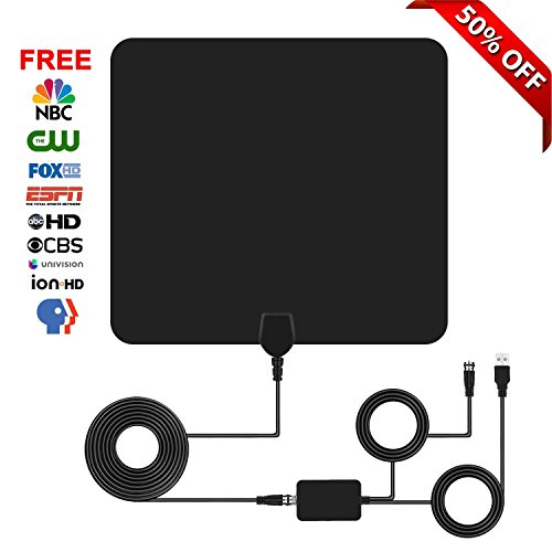TV Antenna, YILIN Indoor Amplified HDTV Antenna 50 Mile Range with Detachable Amplifier Signal Booster USB Power Supply and 16.5FT High Performance Coax Cable- Black from YILIN