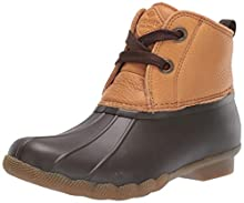 Sperry Women's Saltwater 2-Eye Leather Navy Rain Boot, Tan/Brown, 8.5 M US