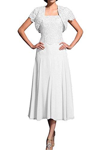 Braut Spitze mit Kurzarm Abschlussballkleider mia Flieder Bolero Abendkleider Herrlich La Weiß Wadenlang Promkleider Ballkleider TFwq5Ifn