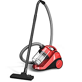 COSTWAY Bagless Canister Vacuum Cleaner, Cyclonic Adjustable Vacuum Cleaner with Washable Filter, Rewind Corded Vacuum…