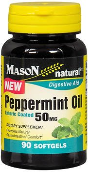 Mason Natural Peppermint Oil 50 mg Enteric Coated Softgels - 90 Softgels, Pack of 4