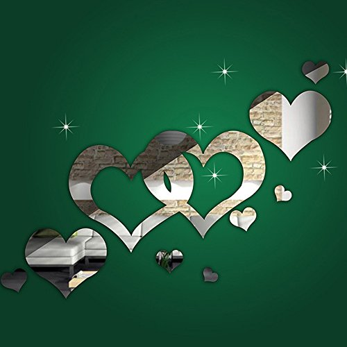 LTUI 1 Set 3D DIY Vinyl Removable Creative Silver Love Heart Shaped Modern Style Wall Stickers Wall Decals Wall Art Mirror Wall Decor For Bedroom Living Room Tv Background Home Decoration (Heart Silver Modern)