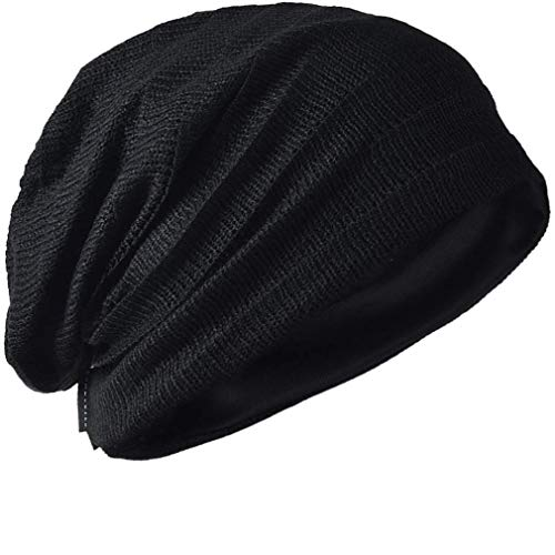 - FORBUSITE Vintage Men Baggy Beanie Slouchy Knit Skull Cap Hat (Black)