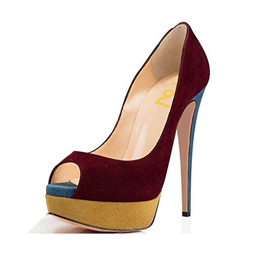 4 15 Shoes Stilettos Peep Pumps Size Wine for FSJ High Sexy Platform Women Heels Prom Toe Fn4HO6W