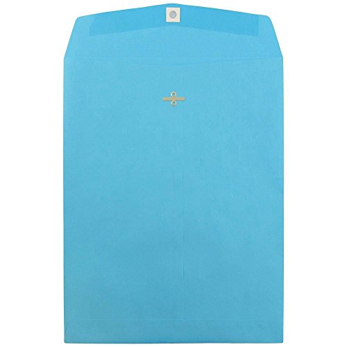 "JAM Paper 10"" x 13"" Open End Catalog Envelope with Clasp Closure- Brite Hue Blue Recycled - 10/pack"
