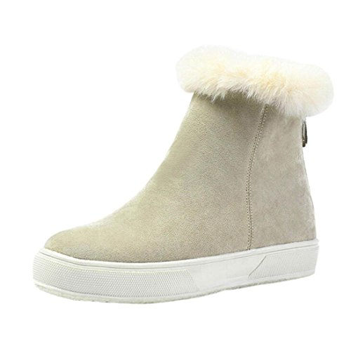 Dinglong Women's Flock Platform Ankle Boot Ladies Zip Up Warm Fur Lining Outdoor Flat Snow Boots Female Ski Flat Heel Casual Shoes Khaki aOddO