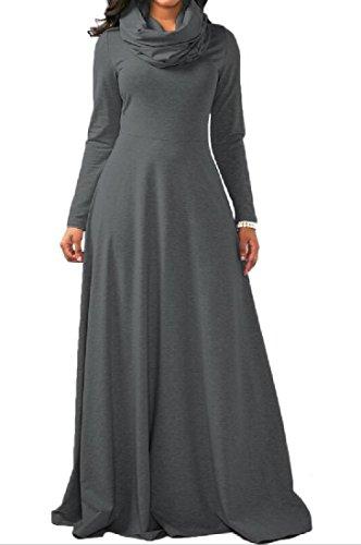 Solid Longline Fit Long High Neck Womens Dress Slim Comfy Grey Sleeve Dark xYgcp