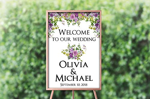 Dozili Purple Flowers Wedding Welcome Sign - Personalized