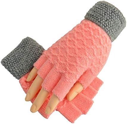手袋 日常 実用 ウィメンズウールハーフフィンガーグローブ (Color : PINK-A)